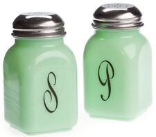 Salt & Pepper Shaker Set Stove Top Jade Jadite Jadeite Green Milk Glass - Mosser