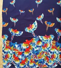 Blue BIRDS IN FLIGHT Clothworks fabric parrot border print novelty tropical 1m