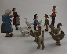 Antico raro giocattolo in legno max & moritz 12 personaggi movibile GIOCATTOLI riforma?