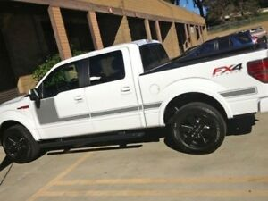 Solid Side Body Hockey Hood piece kit Decals Stripes Fits Ford F-150 CHARCOAL
