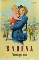 1940's-50's Sabena Lovely Poster Stamp Luggage Label Vintage Original F100