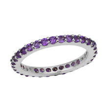 Round Cut Amethyst 0.66 Ct Stack Band 925 Sterling Silver Engagement Ring