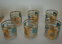 Set of Six Vintage Southern Comfort River Steamboat Thick Bottom Glasses Mid Cen