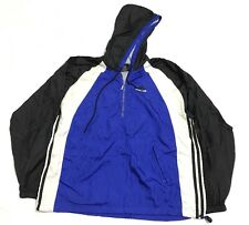 adidas hoodie/jacket/windbreaker/coat size M VTG 80s 90s Blue Black 3 Stripe