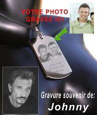 Plaque gravée personnalisée de Johnny Hallyday avec votre photo à ses cotés
