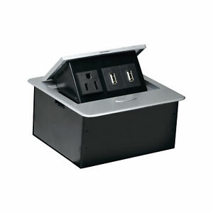 Rok AC Receptacle Plug Port Pop up Counter Desk Table Power Hub Outlet Dual USB