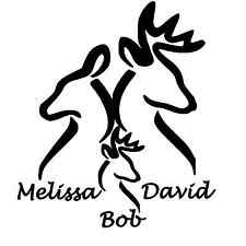 """Personalized Buck and Doe with Baby Window Sticker Decal 6"""""""