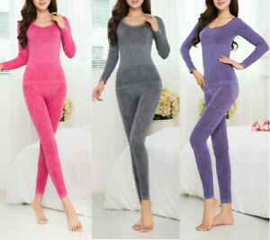 2pcs Women Thermal Underwear Nightwear Warm Winter Clothes Leggings Slim Pajamas