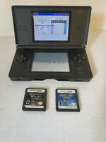 Nintendo DS Lite Blue Black with 2 Games Line on Screen - No charger or Stylus