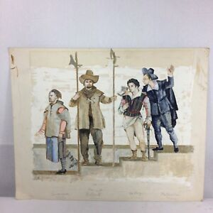 Peter Rice Oil Painting Costume Designs For Master Peters Puppet Show