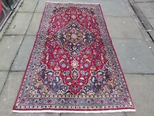 Vintage Traditional Hand Made Oriental Pink Red Blue Wool Large Rug 199x106cm
