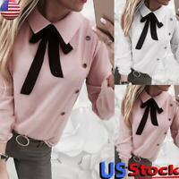 US Women Long Sleeve Bow Tie Shirt Tops Ladies OL Office Work Blouse Lapel Tee