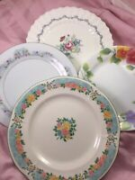 4 - Vintage Mismatched China Salad Plates Pink Wedding Mad Hatter Shabby   # 110