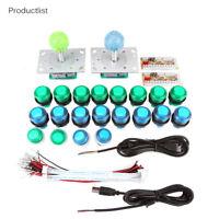 Para Arcade Juegos Kit 20 LED Botones Iluminados 2 Palancas Mando 2 USB Encoder