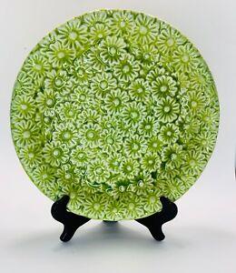 Vintage Daisies Green Crackle Glaze Large Bowl Dish Platter; Daisy Flowers; Mod