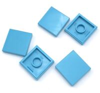 Lego 5 New Medium Azure Tile Pieces 2 x 2 with Grooves
