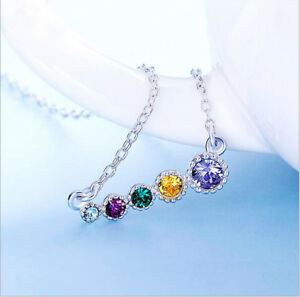 Rainbow 5X Multi-Color Blue Topaz Amethyst Citrine 925 Sterling Silver Necklace