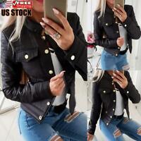 Women Slim Fit Casual Blazer Jacket Tops Outwear Long Sleeve Buttons Short Coat