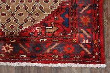 Vintage Geometric Brown Koliaei Oriental 11 ft Runner Rug Wool Hand-Knotted 3x11
