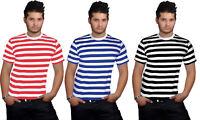 New Men's T Shirt Striped Top Red Black Blue White Crew Neck Short Sleeve Tee