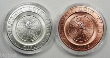 2015 Glendale Coin Club Medals by Daniel Carr 2 Coin Set .999 Silver and Copper