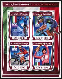 SAO TOME 2017  100th ANNIVERSARY ITALIAN CYCLING  SHEET MINT NH