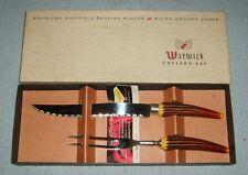 Vintage Warwick Cutlery Set Sheffield Blades Antler Stag Look Handles