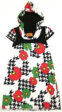 RARE VOOM by Joy Han Hooded Babydoll Mod Dress Floral Houndstooth XS