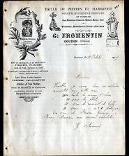 """GOUZON (23) TAILLEUR de PIERRES & MARBRERIE / MONUMENTS """"G. FROMENTIN"""" en 1907"""