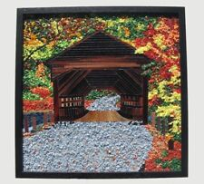 Mosaic Wall Hanging Covered Bridge Hand Crafted Stained Glass