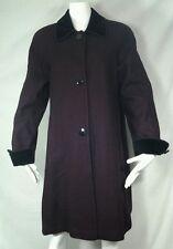 Jo-D LONG Wool Dress Coat Sz L - XL Eggplant purple  Black Velvet Collar Career