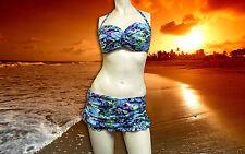 Gottex Profile BLUE LAGOON 2 pc HALTER BANDEAU swimskirt SWIMSUIT SET sz - 10