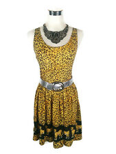 MINK PINK Dress- Animal Print Leopard Cheetah Cub Mini Fit Flare Brown Yellow XS