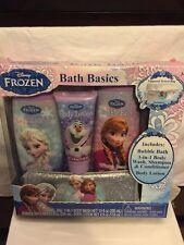 **NIB Disney's Frozen 4 piece Bath Basics Set with Zippered Cosmetics Bag**