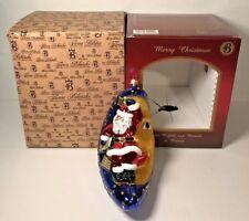 Firma Bilinski Glass Santa Moon Ornament Hand Made Christmas Decor 3D New