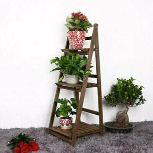 3Tier Flower Plant Pot Shelf Display Ladder Garden Rack Step Style Wood uk