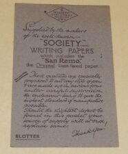 BUVARD publicitaire : Society Stationery - Society Writing Papers San Remo