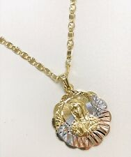 """Tri-Color Virgin Mary Necklace, 18k Gold Filled Pendant & Chain 20"""", Women Kids"""