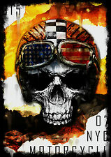 STUNNING MOTORCYCLE CLUB SKULL CANVAS PICTURE #21 QUALITY CANVAS POP ART A1