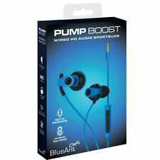 BlueAnt PUMP BOOST Blue Wired Dual Driver Stereo Earbuds w/mic iPhone6+,6,5s,...
