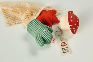 Natural rubber toys 3- Set Gea (Mushroom, Seastar, Cactus) by Lanco