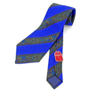 Lanvin Neck Tie Paisley Blue Mens Authentic Used L1994