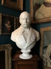 Antique 19th Century Solid Marble Portrait Bust Of A Gent  Signed O'Buccini 1864