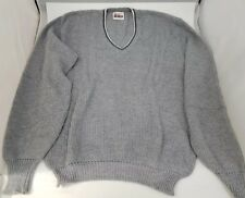 Vintage Mens Gray Sweater V Neck Walkers Old School 1960s Large Free Shipping