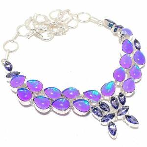 """Purple Triplet Fire Opal, Amethyst Silver Jewelry Necklace 18"""" SMQ-2990"""