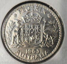 1963 Australian Silver 2/- TWO Shilling Florin QEII ( UNCIRCULATED)  (very Nice)