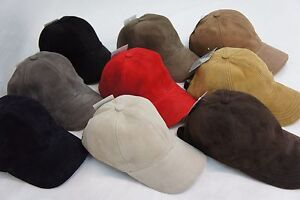 100% REAL GENUINE Lambskin Suede Leather Baseball Cap Hat Sport Visor 9 COLORS