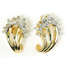 10k YELLOW GOLD .25ctw WHITE DIAMOND in a 4.5 GRAMS J-HOOP EARRING