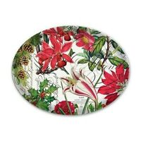 """MICHEL DESIGN WORKS GLASS HOLIDAY POINSETTIA  6.5"""" OVAL SOAP TRINKET DISH NEW"""