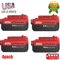 4 Pack 6.0Ah 20V PCC685L Battery for Porter Cable Max Lithium-Ion PCC680L PCC600